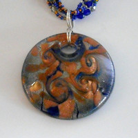 Lampwork Glass Cobalt/Silver/Copper Necklace