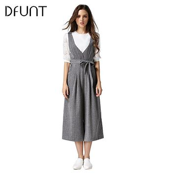 DFUNT V-neck Plaid Jumpsuits With Bow Belt Deep V Backless Wide Leg Pants Jumpsuit Casual Loose Rompers Overall Macacao Feminino