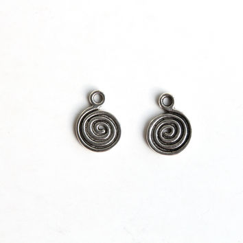 Charm - Swirl, Antique Silver