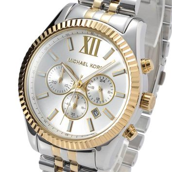 New Michael Kors Mens Watch Lexington Gold Silver Two-Tone Steel MK8344