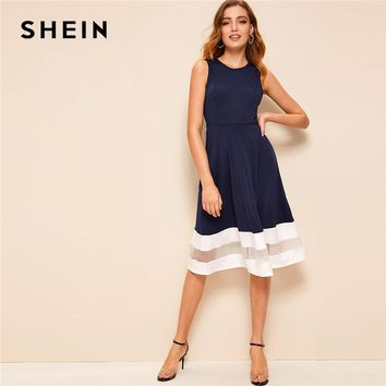 SHEIN Classy Mesh Insert Striped Detail Fit and Flare Summer Midi Dress Women Sleeveless High Waist A Line Retro Party Dresses