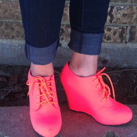 Neon wedge booties from PeaceLove&Jewels