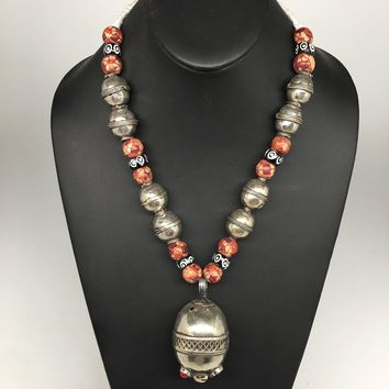 "76.6g, Double Round Metal Wood Beaded Turkmen Necklace @Afghanistan, 25"", TN159"