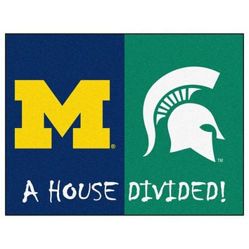 Michigan Wolverines-Michigan State Spartans NCAA House Divided NCAA All-Star Floor Mat (34x45)