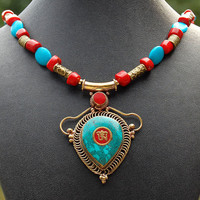 Tibetan Om Pendant Turquoise and Coral Necklace