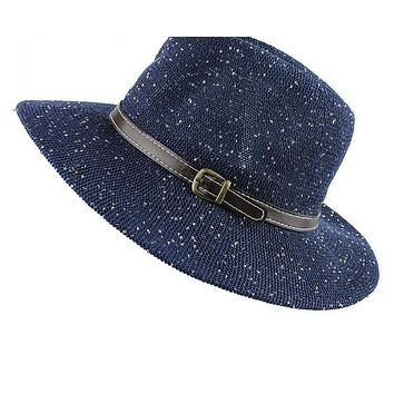 Seaside sun Sequins hats for women summer large brimmed straw hat folding beach girls sun hat