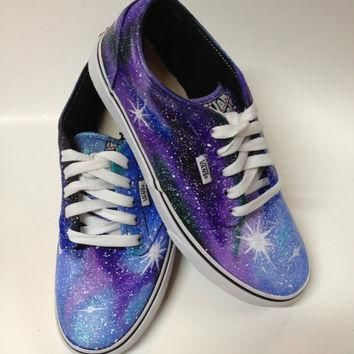 VANS VERSION - Painted Galaxy Shoes Womens Purple Shoes Custom Nebula Starry Stars Nig