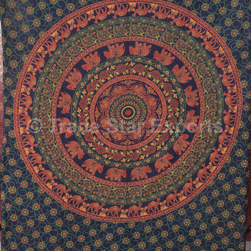 Hippie Tapestry Wall Hanging, Dorm Decor, Indian Mandala Elephant Tapestries, Wall Art, Twin Boho Bedspread, Picnic Table Cloth, Gypsy Decor