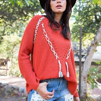 Long Sleeve Lace-Up Knit Sweater