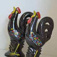 Zanesville, Rooster Salt and Pepper Shakers, Vintage, 1960s.
