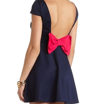 OPEN BOW-BACK SKATER DRESS