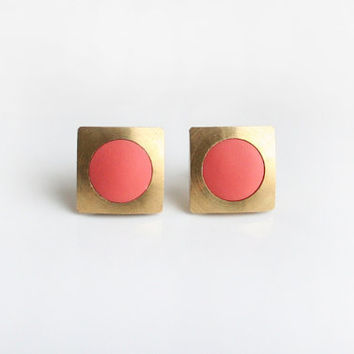 Geometric square with peach circle stud earring