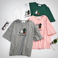 Embroidery Letters And Cat Short Sleeves Crop T-shirt Top