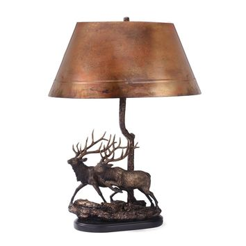 Twin Trophies Elk Copper Table Lamp