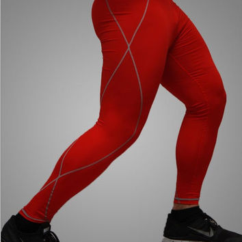 Men's Compression Red Base Layer Pants