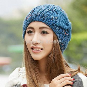 VONESC6 2016 Women Charm winter cap female flower blue bow soft fabric elastic acrylic outdoor thermal knitted brown hats