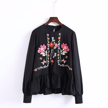 Women Floral Embroidery Ruffles Thin Blouse High Quality Shirt Fashion Vintage Tops Retro  For Ladies