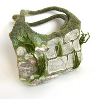 Felted handbag  unique   Stones grass Alpine Garden by galafilc