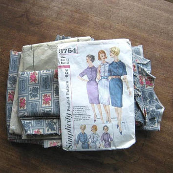Make A Vintage '60s Dress w/ XS-Size Cut Shirtdress Blue Print Fabric Pieces; Simplicity Pattern 3754~Finish Dress; Learn to Make