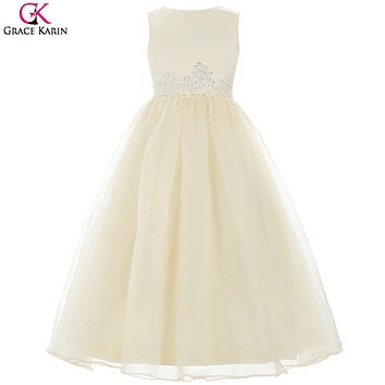 Grace Karin Flower Girl Dresses For Weddings Bridal First Communion Dress Kids Formal Ball White Girls Evening Gown Prom Dresses