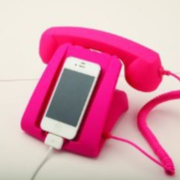 Pink Talk Dock Mobile Device Handset and Charging Cradle