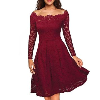 free shipping women full Sleeve slash neck Dress Casual femininos Crochet Floral Lace embroidery dresses  Boho Style overalls