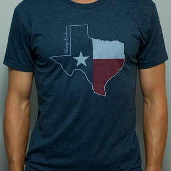 Texas State Pride Vintage Tee in Faded Blue by Rowdy Gentleman