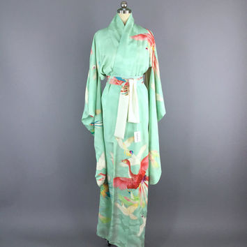 Vintage Kimono / Silk Kimono Robe / Dressing Gown / Long Robe / Wedding Lingerie / Vintage Furisode / Art Deco / Furisode / Aqua Birds