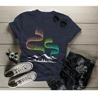 Women's Aurora Borealis T Shirt Northern Lights Shirt Camping Shirts Mountains Explore Graphic Tee