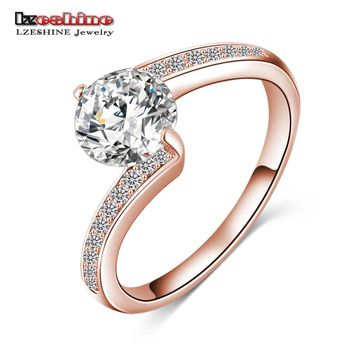 LZESHINE 2017 Fashionable Finger Rings Silver Color/Rose Gold Color AAA Zircon Jewelry Friendship Rings Best Gift CRI0023