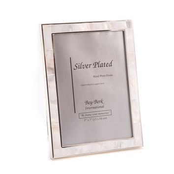 "Silver Plated with ""Mother of Pearl"" 5""x7"" Picture Frame, Easel Back"