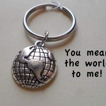 World Globe Keychain or Earth Necklace Couples by JewelryEveryday