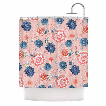 """Nic Squirrell """"Bees Please"""" Pink Floral Shower Curtain"""