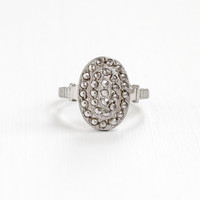 Vintage Art Deco Sterling Silver Marcasite Ring - Size 7 Statement Oval Jewelry Cocktail Dinner Ring Hallmarked Theda