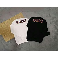 GUCCI Tide brand embroidered sequins LOGO casual cotton round neck T-shirt top