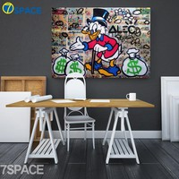 Cartoon Donald Duck Street Graffiti Wall Art Canvas Painting Nordic Posters And Prints Canvas Art Wall Pictures Kids Room Decor