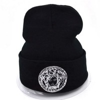 Versace Women Men Embroidery Beanies Winter Knit Hat Cap-5