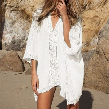 CREYONHS Plunge-front Caftan Pareo Beach Cover Ups Rayon White Robe De Plage Sarong Plus Size Swimwear Tunic Swimsuit Coverup #Q2