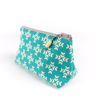 Modern Linen Small Cosmetic Bag in Geometric Teal