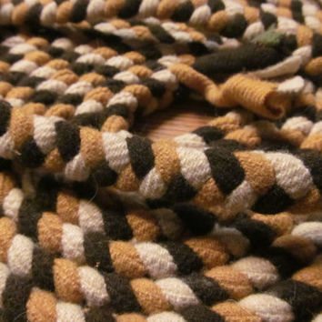 Handmade Braided Rug Unfinished Brown Wool Braided Rug Piece Wool for Braided Rug Primitive Rustic Cabin Decor