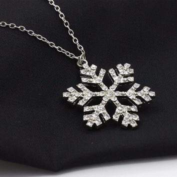SUSENSTONE Rhinestone Snowflake Necklace Pendants Chain Necklace Jewelry Women
