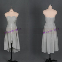 Short light gray chiffon bridesmaid dresses 2014,cheap cute sweetheart gowns for wedding party,unique high low prom dresses under 100.