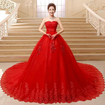 beautiful Lace Red Ball Gown Wedding Dresses Detachable Long train Lace Appliques Bridal
