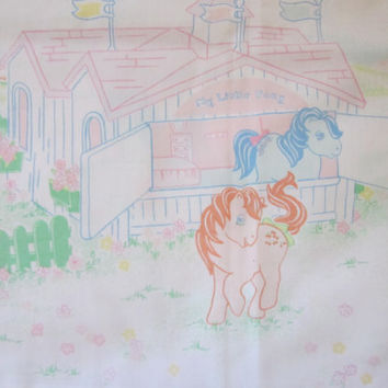 Vintage  My Little Pony Pillowcase, G1 MLP, 80's Children's Bedding Or Project Fabric