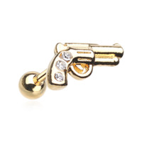 Golden Sparkle Pistol Cartilage Helix Tragus Earring 18ga Surgical Steel