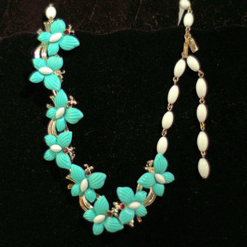 Vintage Teal Butterfly Necklace