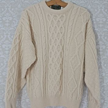Vintage 1970s Fisherman + Irish Knit Aran Sweater