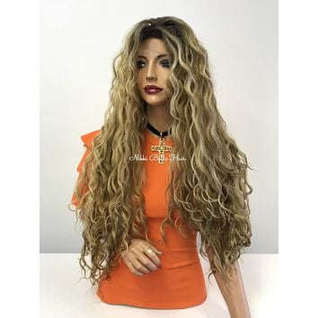 SILK BASE Blond balayage wavy lace front wig - Soap Opera 318 7