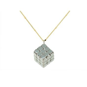 Silver Rubik's Cube Necklace