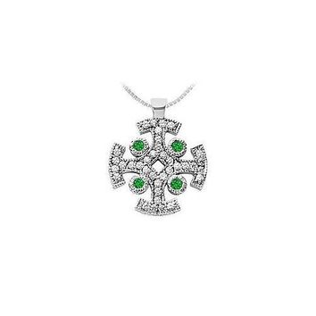 Emerald and Diamond Cross Pendant : 14K White Gold - 1.50 CT TGW